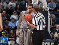 Justin Cobbs of California talks with the referee after halftime during the game against UCLA at Haas Pavilion in Berkeley, California on February 19th, 2014.  UCLA defeated California, 86-66.