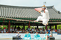 "Dano Festival, June 9, 2016 : Kim Dae-gyun, tightrope walking master and the Important Intangible Cultural Property No. 58 of South Korea, performs during ""Early Summer High Day, Dano Festival"" at the Namsangol Hanok Village in Seoul, South Korea. (Photo by Lee Jae-Won/AFLO) (SOUTH KOREA)"