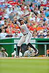 19 May 2012: Baltimore Orioles outfielder Adam Jones in action against the Washington Nationals at Nationals Park in Washington, DC. The Orioles defeated the Nationals 6-5 in the second game of their 3-game series. Mandatory Credit: Ed Wolfstein Photo
