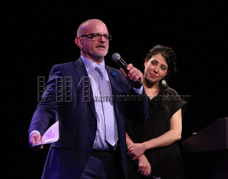 Michael Wilson and Rachel Chavkin  on stage at the Stage Directors and Choreographers Foundation event honoring Julie Taymor with the Mr. Abbott Award at the Bohemian National Hall on April 2, 2018 in New York City.