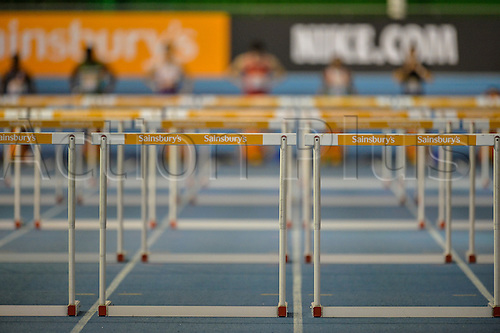 14.02.2015.  Sheffield, England. British Indoor Athletics Championship. A general shot before the start of a Mens 60m Hurdles Heat.