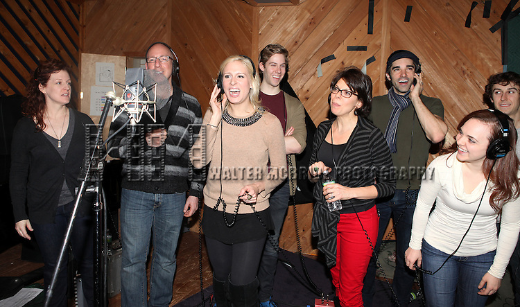 """Ensemble cast in the studio recording for the Original Broadway Cast Recording of Broadway's """"Rodgers & Hammerstein's Cinderella? at MSR Studios in New York City on 3/18/2013"""