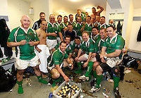 Photo: Richard Lane/Richard Lane Photography. England Legends v Ireland Legends. The Stuart Mangan Memorial Cup. 26/02/2010. Ireland celebrate victory in the changing room.