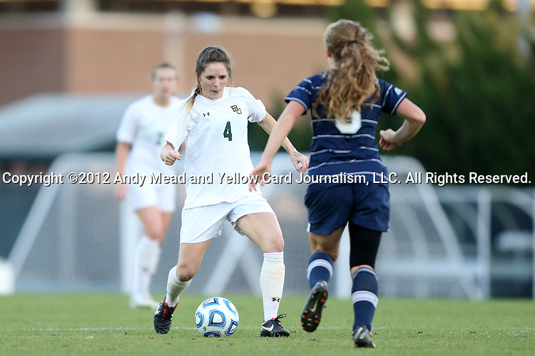 16 November 2012: Baylor's Carlie Davis (4) and Georgetown's Daphne Corboz (6). The Baylor University Bears played the Georgetown University Hoyas at Fetzer Field in Chapel Hill, North Carolina in a 2012 NCAA Division I Women's Soccer Tournament Second Round game. Baylor won the game 2-1 in overtime.