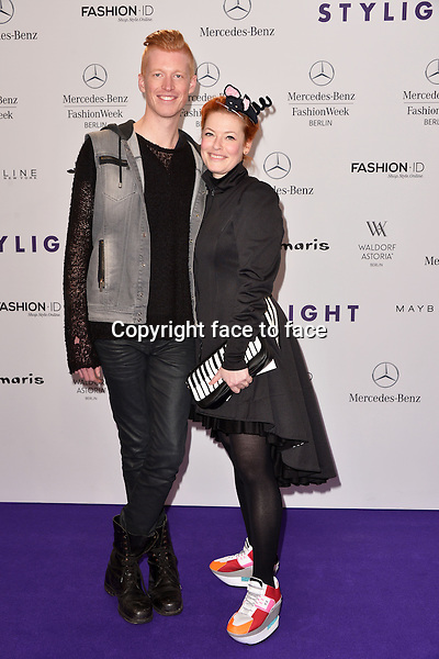 Enie van de Meiklokjes and Tobias Staerbo attending the STYLIGHT Fashion Blogger Awards fashion show during the Mercedes-Benz Fashion Week Autumn/Winter 2013/14 Berlin in Berlin 13.01.2014. Credit Timm/face to face