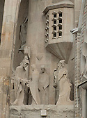 One of the many sculptures around the exterior of the Basilica de la Sagrada Família (Basilica and Expiatory Church of the Holy Family) in Barcelona, Spain on October 19, 2013.<br /> Credit: Ron Sachs / CNP