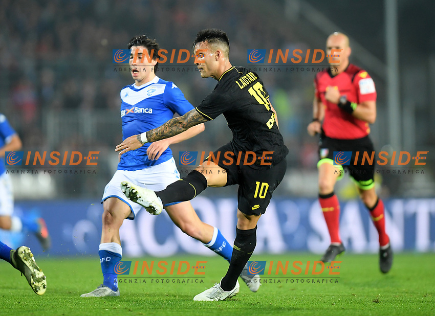191030 -- BRESCIA, Oct. 30, 2019 Xinhua -- FC Inter s Lautaro Martinez front scores a goal during a Serie A soccer match between Brescia and FC Inter in Brescia, Italy, Oct 29, 2019. Photo by Alberto Lingria/Xinhua SPITALY-BRESCIA-SOCCER-SERIE A-INTER MILAN VS BRESCIA PUBLICATIONxNOTxINxCHN <br /> Brescia 29-10-2019 Stadio Mario Rigamonti <br /> Football Serie A 2019/2020 <br /> Brescia - FC Internazionale <br /> Photo Alberto Lingria / Xinhua / Imago  / Insidefoto