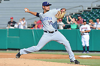 Pensacola Blue Wahoos starting pitcher Mark Serrano #10 delivers a pitch during game one of a double header against the  Tennessee Smokies at Smokies Park on July 30, 2012 in Kodak, Tennessee. The Smokies defeated the Blue Wahoos 6-3 in game one and 3-2 in game two. (Tony Farlow/Four Seam Images).