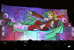February 4, 2019, Sapporo, Japan - A projection mapping is cast on a large snow sculpture of character of Hatsune Miku at the 70th annual Sapporo Snow Festival in Sapporo in Japan's nortern island of Hokkaido on Monday, February 4, 2019. The week-long snow festival started at the Odori Park in central Sapporo through February 11 and over 2.5 million people are expecting to visit the festival.   (Photo by Yoshio Tsunoda/AFLO) LWX -ytd-