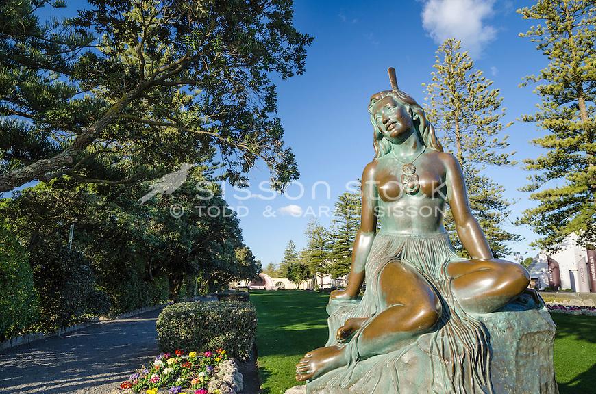 Iconic bronze statue - Pania of the Reef, Naper, New Zealand - stock photo, canvas, fine art print
