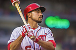 20 May 2014: Washington Nationals infielder Anthony Rendon on deck against the Cincinnati Reds at Nationals Park in Washington, DC. The Nationals defeated the Reds 9-4 to take the second game of their 3-game series. Mandatory Credit: Ed Wolfstein Photo *** RAW (NEF) Image File Available ***