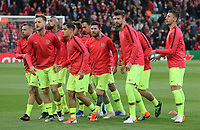 Barcelona players - led by Lionel Messi - make their way to the tunnel following the pre-match warm-up <br /> <br /> Photographer Rich Linley/CameraSport<br /> <br /> UEFA Champions League Semi-Final 2nd Leg - Liverpool v Barcelona - Tuesday May 7th 2019 - Anfield - Liverpool<br />  <br /> World Copyright © 2018 CameraSport. All rights reserved. 43 Linden Ave. Countesthorpe. Leicester. England. LE8 5PG - Tel: +44 (0) 116 277 4147 - admin@camerasport.com - www.camerasport.com