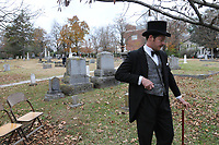 NWA Democrat-Gazette/J.T. WAMPLER Johnathan Jarmon of Fayetteville portrays William McElroy Sunday Nov. 12, 2017 during a History Comes Alive program at Evergreen Cemetery in Fayetteville. The two-day event  was held to raise money for maintenance and improvement projects at the cemetery that was established in 1847. It has the graves of several prominent Arkansans including the stateÕs first congressman Archibald Yell. The Evergreen Cemetery Association so far has raised about $13,000 of $22,050 needed to restore YellÕs crumbling tombstone. Actors from Artists Laboratory Theatre, a Fayetteville collective, will portray several historical figures as folks walk around the cemetery, including Archibald Yell, Roberta Fulbright, Lafayette Gregg and others.