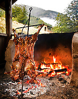 Cooking an Asado (lamb) slowly over 2-3 hours at Bio Bio Expeditions Camp on the Futaleufu River, Chile.