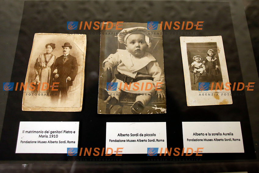 Old photos and newspaper clippings  of Alberto Sordi during the opening of the actor's house-museum in Rome. In occasion of the centenary of his  birth, the villa in the heart of Rome, where he lived from 1959 to death, was opened to the public, becoming a house-museum. The house still contains thousand of objects belonged to the actor. In the garden two more tensile structures were added, containing stage clothes, posters of his films, photos and much more.<br /> Rome (Italy), September 15th 2020<br /> Photo Samantha Zucchi Insidefoto