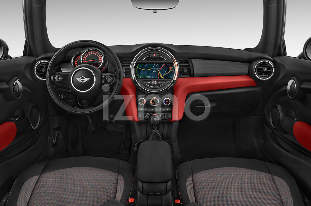 Stock photo of straight dashboard view of a 2015 MINI MINI Cooper 3 Door Hatchback Dashboard