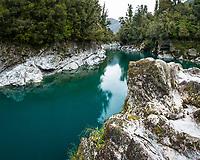 Emerald water of Hokitika River, South Westland, West Coast, New Zealand, NZ