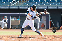 Peoria Javelinas right fielder Ian Miller (9), of the Seattle Mariners organization, at bat during an Arizona Fall League game against the Glendale Desert Dogs at Peoria Sports Complex on October 22, 2018 in Peoria, Arizona. Glendale defeated Peoria 6-2. (Zachary Lucy/Four Seam Images)