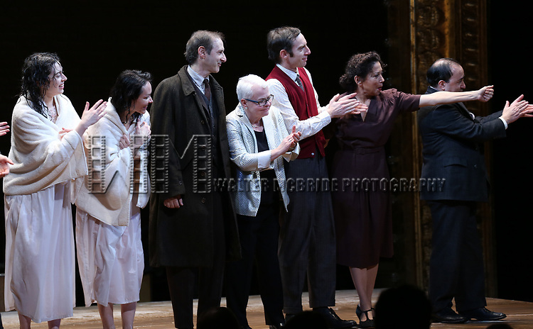 Adina Verson, Katrina Lenk, Richard Topal, Paula Vogel, Max Gordon Moore, Mimi Lieber and Steven Rattazzi during the Broadway Opening Night Performance Curtain Call Bows for  'Indecent' at The Cort Theatre on April 18, 2017 in New York City.