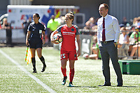 Portland, OR - Saturday August 05, 2017: Meghan Klingenberg, Mark Parsons during a regular season National Women's Soccer League (NWSL) match between the Portland Thorns FC and the Houston Dash at Providence Park.