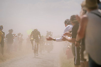 stage leader Damien Gaudin (FRA/Direct Energie) emerging from the dust on pav&eacute; sector #6<br /> <br /> Stage 9: Arras Citadelle &gt; Roubaix (154km)<br /> <br /> 105th Tour de France 2018<br /> &copy;kramon