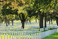 Grave markers at Fort Snelling National Cemetery in St. Paul, Minnesota. Fort Snelling is one of 125 national cemeteries in 39 states and Puerto Rico. As of 2007, there were 176,567 burried in the cemetery.