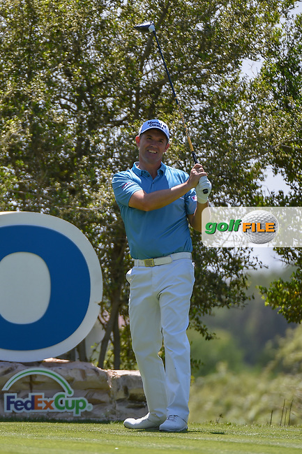 Padraig Harrington (IRL) watches his tee shot on 18 during day 1 of the Valero Texas Open, at the TPC San Antonio Oaks Course, San Antonio, Texas, USA. 4/4/2019.<br /> Picture: Golffile   Ken Murray<br /> <br /> <br /> All photo usage must carry mandatory copyright credit (© Golffile   Ken Murray)