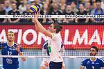 24.02.2019, SAP Arena, Mannheim<br /> Volleyball, DVV-Pokal Finale, VfB Friedrichshafen vs. SVG LŸneburg / Lueneburg<br /> <br /> Zuspiel Adam Schriemer (#3 Lueneburg)<br /> <br />   Foto © nordphoto / Kurth
