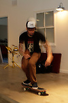 Ben Harper skateboards at his studio in Santa Monica, California, U.S. December 7, 2012 ©Jonathan Alcorn/JTA