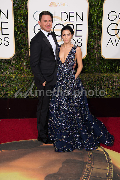 Channing Tatum and Jenna Dewan-Tatum arrive at the 73rd Annual Golden Globe Awards at the Beverly Hilton in Beverly Hills, CA on Sunday, January 10, 2016. Photo Credit: HFPA/AdMedia