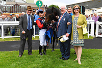 Connections of Power of Darkness in the winners enclosure after winning The Dee Wilks Against The Odds Confined Novice Stakes (Div 1)  during Afternoon Racing at Salisbury Racecourse on 12th June 2018