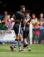 Lincoln City's Matt Green, centre, celebrates scoring his sides first goal with team-mates Ollie Palmer, left, and Josh Ginnelly<br /> <br /> Photographer Chris Vaughan/CameraSport<br /> <br /> Football - Pre-Season Friendly - Lincoln United v Lincoln City - Saturday 8th July 2017 - Sun Hat Villas Stadium - Lincoln<br /> <br /> World Copyright &copy; 2017 CameraSport. All rights reserved. 43 Linden Ave. Countesthorpe. Leicester. England. LE8 5PG - Tel: +44 (0) 116 277 4147 - admin@camerasport.com - www.camerasport.com
