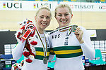 The team of Australia with Kaarle McCullouch and Stephanie Morton celebrates after winning the Women's Team Sprint Finals match as part of the 2017 UCI Track Cycling World Championships on 12 April 2017, in Hong Kong Velodrome, Hong Kong, China. Photo by Victor Fraile / Power Sport Images