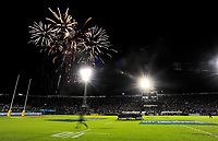 Fireworks are set off before the 2017 DHL Lions Series rugby union match between the NZ Provincial Barbarians and British & Irish Lions at Toll Stadium in Whangarei, New Zealand on Saturday, 3 June 2017. Photo: Dave Lintott / lintottphoto.co.nz