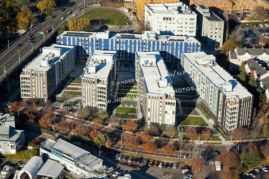 Aerial photo the Mercer Court Apartments at the University of Washington