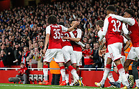 Celebrations after Eddie Nketiah of Arsenal scores the equalising goal 1-1 during the Carabao Cup match between Arsenal and Norwich City at the Emirates Stadium, London, England on 24 October 2017. Photo by Carlton Myrie.