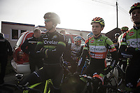 2 'Crelan' riders side by side before the course is opened for recon: 'old' versus 'new'; Sven Nys (BEL/Crelan-AAdrinks) versus Wout Van Aert (BEL/Crelan-Vastgoedservice)<br /> <br /> GP Sven Nys 2016