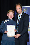 St Johnstone FC Youth Academy Presentation Night at Perth Concert Hall..21.04.14<br /> Alec Cleland presents to Mark Walker<br /> Picture by Graeme Hart.<br /> Copyright Perthshire Picture Agency<br /> Tel: 01738 623350  Mobile: 07990 594431