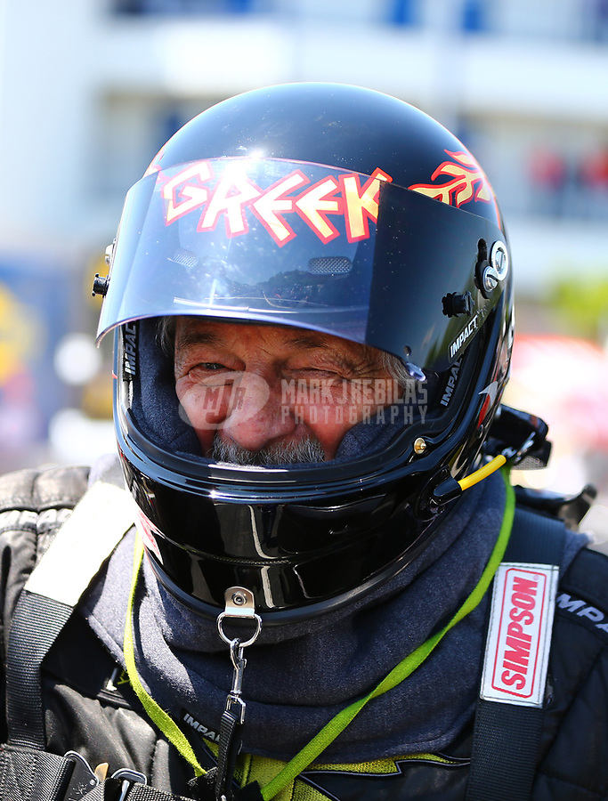 May 6, 2017; Commerce, GA, USA; NHRA top fuel driver Chris Karamesines during qualifying for the Southern Nationals at Atlanta Dragway. Mandatory Credit: Mark J. Rebilas-USA TODAY Sports