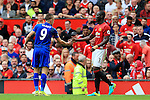 Eric Bailly of Manchester United shakes hands with Jamie Vardy of Leicester City during the Premier League match at Old Trafford Stadium, Manchester. Picture date: September 24th, 2016. Pic Sportimage