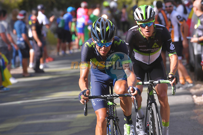 Nelson Oliveira (ESP) Movistar Team and Serge Pauwells (BEL) Dimension Data climb the 22% Alto Xorret de Cat&iacute; during Stage 8 of the 2017 La Vuelta, running 199.5km from Hell&iacute;n to Xorret de Cat&iacute;. Costa Blanca Interior, Spain. 26th August 2017.<br /> Picture: Unipublic/&copy;photogomezsport | Cyclefile<br /> <br /> <br /> All photos usage must carry mandatory copyright credit (&copy; Cyclefile | Unipublic/&copy;photogomezsport)