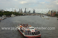 A Thames riverboat and the City of London in the distance.<br /> <br /> <br /> Photo credit: Jeff Thomas - Jeff Thomas Photography - 07837 386244/07837 216676 - www.jaypics.photoshelter.com - thomastwotimes@live.co.uk