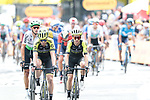 Adam Yates (GBR) Mitchelton-Scott crosses the finish line at the end of Stage 1 of the 2019 Tour de France running 194.5km from Brussels to Brussels, Belgium. 6th July 2019.<br /> Picture: Colin Flockton | Cyclefile<br /> All photos usage must carry mandatory copyright credit (© Cyclefile | Colin Flockton)
