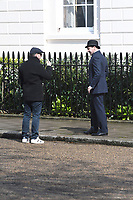 Matthew Vaughn (director), Ralph Fiennes<br /> 'Kingsman: The Great Game' filming on location in Belgravia, London England on April 14, 2019<br /> CAP/IH<br /> &copy;Ivan Harris/Capital Pictures