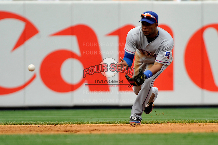 Texas Rangers shortstop  Elvis Andrus #1 during a game against the New York Yankees at Yankee Stadium on June 16, 2011 in Bronx, NY.  Yankees defeated Rangers 3-2.  Tomasso DeRosa/Four Seam Images