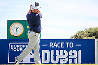 Shane Lowry (IRL) on the 1st during the 1st round of the 2017 Portugal Masters, Dom Pedro Victoria Golf Course, Vilamoura, Portugal. 21/09/2017<br /> Picture: Fran Caffrey / Golffile<br /> <br /> All photo usage must carry mandatory copyright credit (&copy; Golffile | Fran Caffrey)