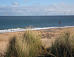 Offshore turbines, Scroby Sands wind farm, viewed from Caister, Norfolk, England