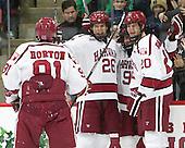 Jake Horton (Harvard - 91), Jacob Olson (Harvard - 26), Luke Esposito (Harvard - 9), Adam Baughman (Harvard - 20) -  - The Harvard University Crimson defeated the visiting Colgate University Raiders 7-4 (EN) on Saturday, February 20, 2016, at Bright-Landry Hockey Center in Boston, Massachusetts.