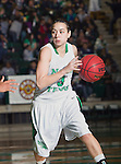 North Texas Mean Green guard Alyssa Hankins (3) in action during the game between the Louisiana Lafayette Ragin' Cajuns and the University of North Texas Mean Green at the North Texas Coliseum,the Super Pit, in Denton, Texas. UNT defeats Louisiana Lafayette 78 to 40....