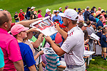 CROMWELL, CT. 19 June 2019-061919 - PGA Tour player Bryson DeChambeau, right, takes time after his round to sign autographs for the fans, during the Travelers Championship Pro-am day at the TPC River Highlands in Cromwell on Wednesday. Bill Shettle Republican-American